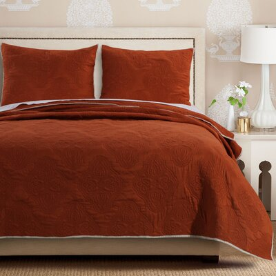 Cameo Quilt Set Size: King, Color: Rust
