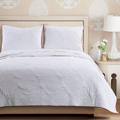 Cameo Quilt Set Size: Full/Queen, Color: Whisper White