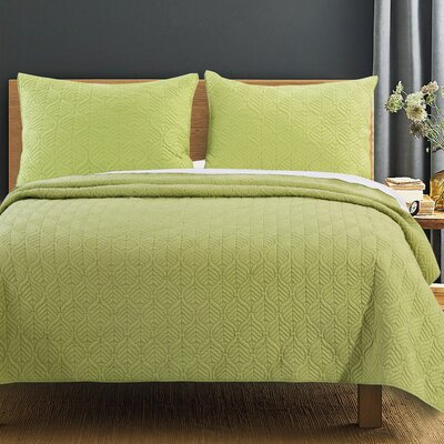 Piper Quilt Set Size: Full/Queen, Color: Green