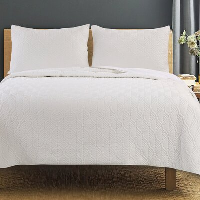 Piper Quilt Set Size: King, Color: Ivory
