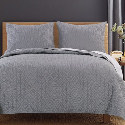 Piper Quilt Set Size: King, Color: Moonlight Gray