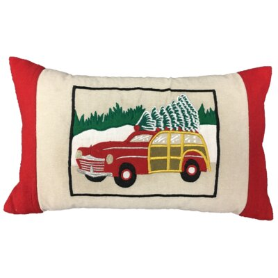 Tree Transport XMAS 100% Cotton Lumbar Pillow