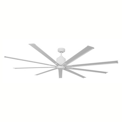 96 9 Blades Outdoor Ceiling Fan with Remote Motor and Blade Finish: White