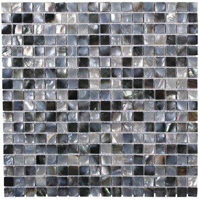 Donegal .59 x .59 Glass Pearl Shell Mosaic Tile in Gray