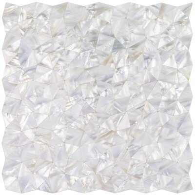 Lokahi Random Sized Glass Pearl Shell Mosaic Tile in Polished White/Pearl