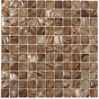 Baroque 1 x 1 Glass Pearl Shell Mosaic Tile in Beige