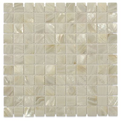 Castel Del Monte 1 x 1 Glass Pearl Shell Mosaic Tile in White