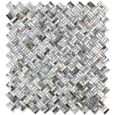 Coule Random Sized Glass Pearl Shell Mosaic Tile in Polished Black/Gray/Pearl