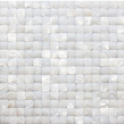 Pacif .79 x .79 Glass Pearl Shell Mosaic Tile in White