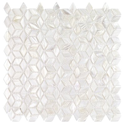 Pacif Random Sized Glass Pearl Shell Mosaic Tile in Polished White/Pearl