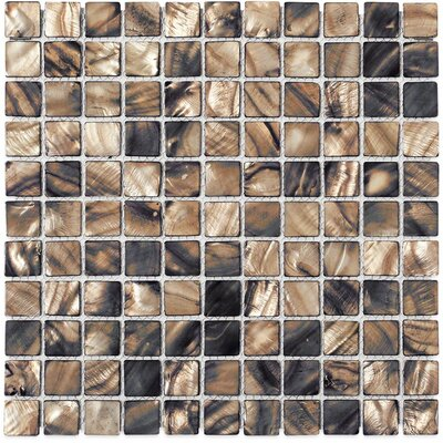Noburu 1 x 1 Glass Pearl Shell Glass Mosaic Tile in Silver