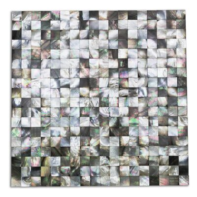 Lokahi Coule Random Sized Glass Pearl Shell Mosaic Tile in Polished Black/Gray/Pearl