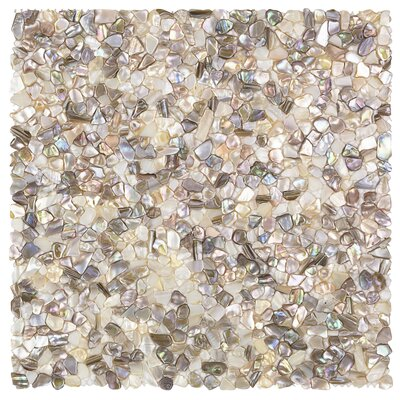 Noburu Random Sized Glass Pearl Shell Mosaic Tile in Silver