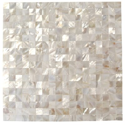 Lokahi .66 x .66 Glass Pearl Shell Mosaic Tile in White
