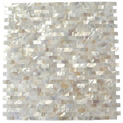 Lokahi .79 x .39 Glass  Pearl Shell Mosaic Tile in White