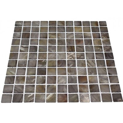 Noburu 1 x 1 Glass Pearl Shell Mosaic Tile in Gray