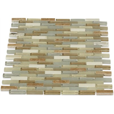 Cleveland 0.5 x 1.5 Glass/Marble Mosaic Tile in Frosted Gray/Tan