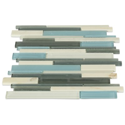 Cleveland Random Sized Glass/Marble Mosaic Tile in Frosted Blue/Gray