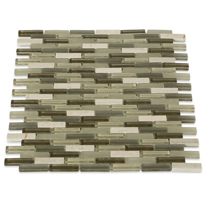 Cleveland 0.5 x 1.5 Glass/Marble Mosaic Tile in Frosted Brown/Dark Brown/Tan