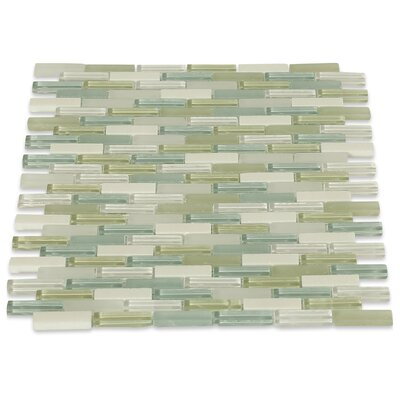 Cleveland 0.5 x 1.5 Glass/Marble Mosaic Tile in Frosted Seafoam Green/Gray Stone/Light Gray