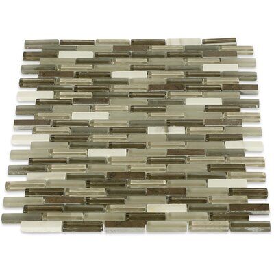 Cleveland 0.5 x 1.5 Glass/Marble Mosaic Tile in Frosted Brown/Dark Brown Stone/ Tan