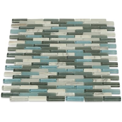 Cleveland 0.5 x 1.5 Glass/Marble Mosaic Tile in Frosted Blue/Gray