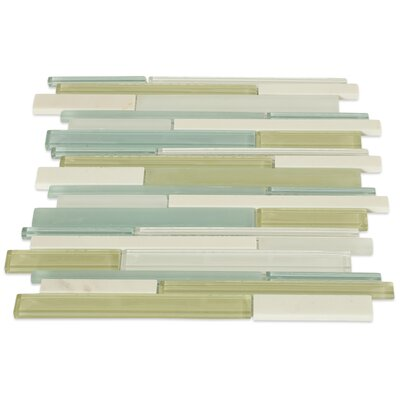 Cleveland Random Sized Glass/Marble Mosaic Tile in Frosted Seafoam Green/Gray Stone/Light Gray