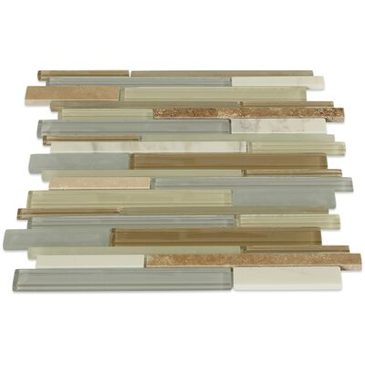 Cleveland Random Sized Glass/Marble Mosaic Tile in Frosted Gray/Tan