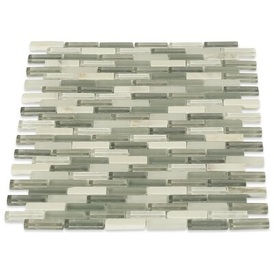 Cleveland 0.5 x 1.5 Glass/Marble Mosaic Tile in Frosted White/Gray