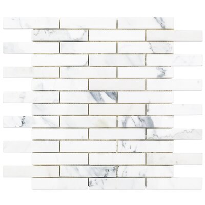 1 x 4 Marble Mosaic Tile in White/Gray