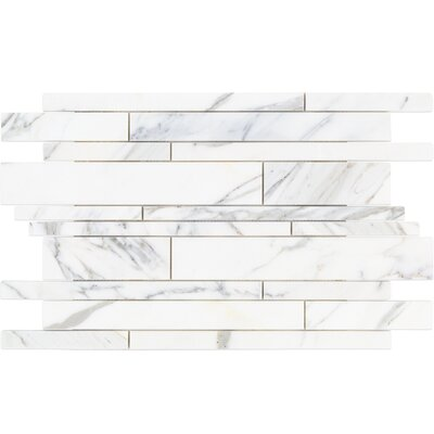 Random Sized Marble Mosaic Tile in White/Gray