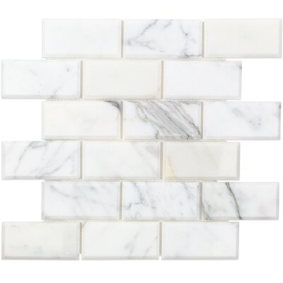 2 x 4 Beveled Marble Mosaic Tile White/Gray