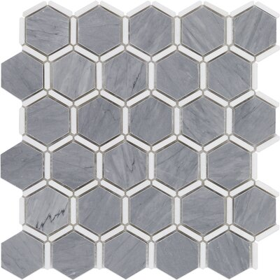 Ambrosia 2 x 2 Marble Mosaic Tile in Gray/White
