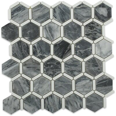 Ambrosia 2 x 2 Marble Mosaic Tile in Dark Gray/White