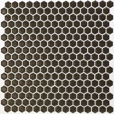Bliss 0.6 x 0.6 Ceramic Mosaic Tile in Dark Gray