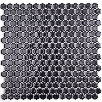 Bliss 0.6 x 0.6 Ceramic Mosaic Tile in Black
