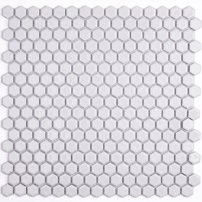 Bliss 0.6 x 0.6 Ceramic Mosaic Tile in White