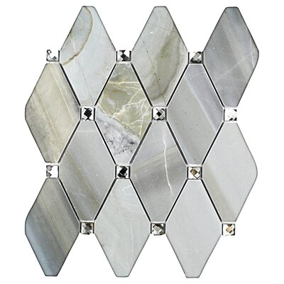 Mirage Lozenge 2.5 x 5 Marble/Glass Mosaic Tile in Gray