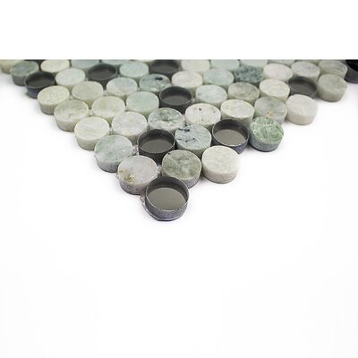 Mirage Penny 0.75 x 0.75 Marble/Glass Mosaic Tile in Green