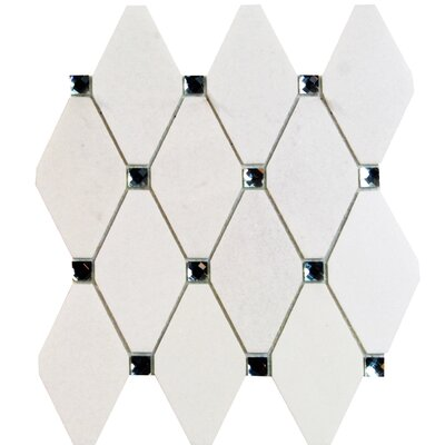 Mirage Lozenge 2.5 x 5 Marble/Glass Mosaic Tile in White