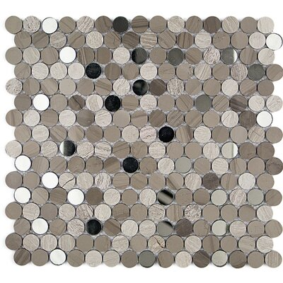 Mirage Penny 0.75 x 0.75 Marble/Glass Mosaic Tile in Gray/Beige