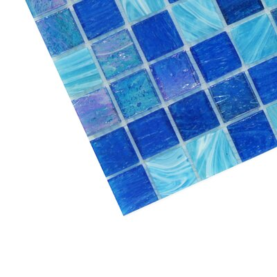 Aqua 1 x 1 Glass Mosaic Tile in Ocean Blue