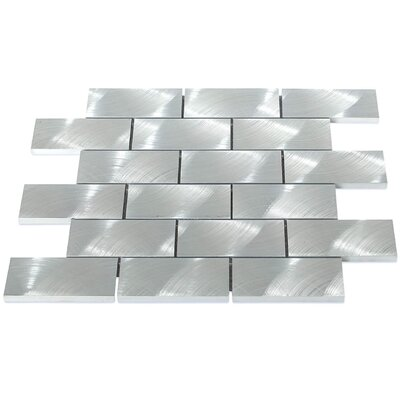 Urban 2 x 4 Metal Mosaic Tile in Brushed Silver
