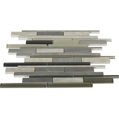 Urban Random Sized Metal/Glass Mosaic Tile in Brushed Polished Black/Gray