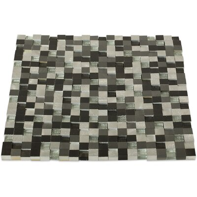 Urban 0.5 x 0.5 Metal/Glass Mosaic Tile in Brushed Polished Black/Gray