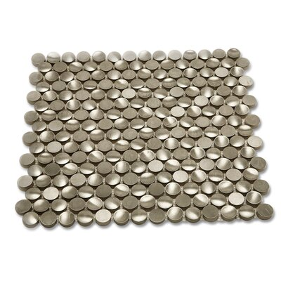 Corrie 0.75 x 0.75 Metal Mosaic Tile in Brushed Polished Silver