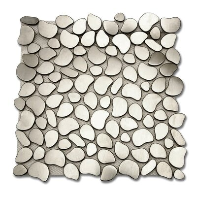 Corrie Random Sized Metal Mosaic Tile in Brushed Silver