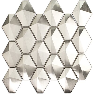 Corrie 2.75 x 3.5 Metal Mosaic Tile in Polished Silver