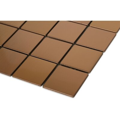 Stainless Steel 2 x 2 Metal Mosaic Tile in Brushed Copper