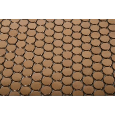 Stainless Steel 0.75 x 0.75 Metal Mosaic Tile in Brushed Copper